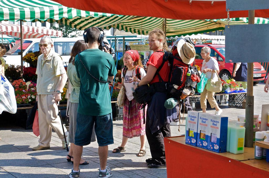 Interview pour la TV sur la Münster Platz